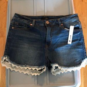 AQUA lace trim shorts Rue La La